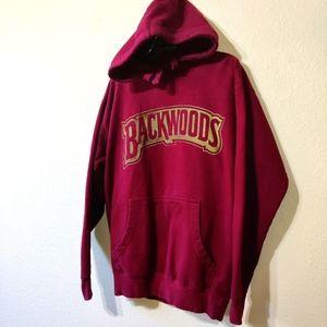 Backwoods Burgundy Red Hoodie Sweatshirt Medium